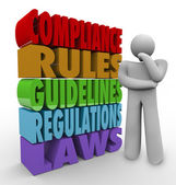 Compliance Rules Thinker Guidelines Legal Regulations — 图库照片