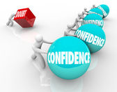 Confidence Vs Doubt Race Competition Good Positive Attitude Wins — Stock Photo
