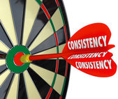 Consistency Dependable Reliable Perfect Score Dart Board — Stock Photo
