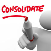 Consolidate Writing Word Combine Groups Stronger Company Consoli — Foto de Stock