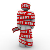 Debt Man Wrapped in Tape Budget Deficit — Stock Photo