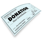 Donation Check Word Money Gift Contribution — Stock Photo