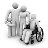 Family Together - Parents and Kids, Wheelchair — Stock Photo