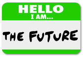 Hello I am the Future Nametag Sticker Change — Стоковое фото