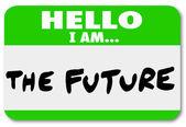 Hello I am the Future Nametag Sticker Change — Stockfoto
