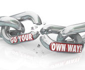 Go Your Own Way Break Split Up Broken Chain Links — Stock Photo