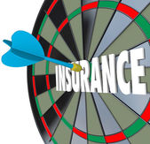 Insurance Dart Board Word Choosing Best Policy Plan Coverage — Stock Photo