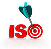 ISO Word Acroynm Target Arrow Certified Company — Stock Photo