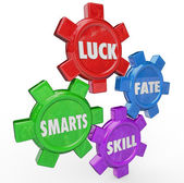 Luck Fate Skill Smarts Four Essential Factors Success — Stock Photo