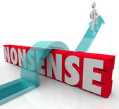Nonsense Jumping Over Word Common Sense Vs Illogical — Foto Stock