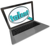 Talent Laptop Screen Online Search Skilled Unique People — Foto de Stock