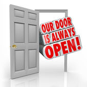 Our Door is Always Open Invitation Welcome Inside — Stock Photo