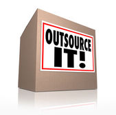 Outsource It Words Cardboard Box Shipping Jobs Labor Workforce — Stock Photo