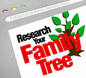 Research Your Family Tree Online Website Research Database — Stock Photo