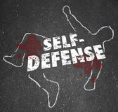 Self Defense Words Chalk Outline Body Defending Yourself Attack — Zdjęcie stockowe