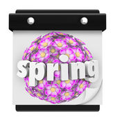 Spring Word Calendar Flowers Bloom Time Plant Grow — Stock Photo