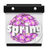 Spring Word Calendar Flowers Bloom Time Plant Grow — Stock Photo