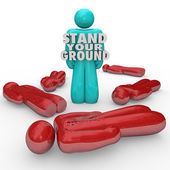 Stand Your Ground Words Person Standing Survivor Self Defense — Stock Photo