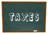 Tax Word Chalk Board Fiancial Money Lesson Taxes Advice — Stock Photo