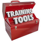 Training Tools Red Toolbox Learning New Success Skills — Stock Photo