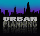 Urban Planning Night City Scape Skyline Words — Stock Photo