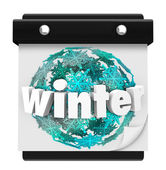 Winter Snowflake Background Calendar Page Start Season — Stock Photo