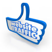Website Traffic Thumb Up Increase Visitors Online Reputation — Stock Photo