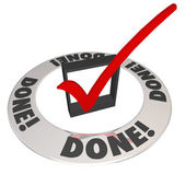 Done Check Mark in Checkbox Mission Job Accomplishment Complete — Foto Stock