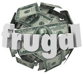 Frugal Money Ball Cheap Saving Cash Reduce Spending — Stock Photo