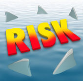 Risk Word Shark Fins Water Danger Deadly Warning Caution — Stock Photo