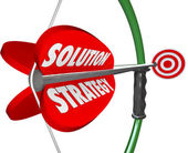 Solution Strategy Bow Arrow Target Achieve Mission Goal — Stock Photo