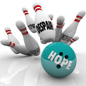 Hope Vs Despair Bowling Bowl Faith Conquers Doubt — Stock Photo