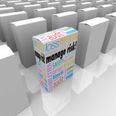 Manage Risk Package Box Choose Best Security Safety Option — Stock Photo