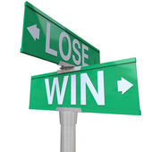Win Vs Lose Two Way Street Road Sign Direction Arrows — Stock Photo