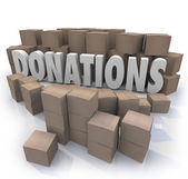 Donations Word Cardboard Boxes Charity Drive Collection Warehous — Stock Photo