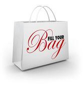 Fill Your Bag Shopping Spree Spend Splurge Binge Money — Stock Photo