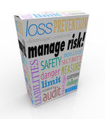 Manage Risk Package Box Security Safety Limit Liability Loss — Stock Photo