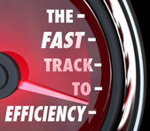 Fast Track to Efficiency Speedometer Effective Productive Improv — Stock Photo