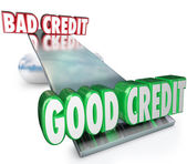 Good Credit Vs Bad See Saw Balance Scale Improve Rating — Stock Photo