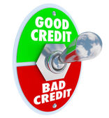 Good Vs Bad Credit Toggle Switch Great Score Rating — Stock Photo