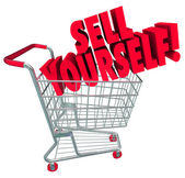 Sell Yourself Shopping Cart Market Your Abilities Skills — Stockfoto