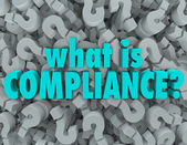 What is Compliance Words Question Mark Background — Stock Photo