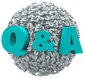 Q and A Question Mark Sphere Ask for Answers Support Help — Stock Photo