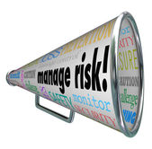 Manage Risk Bullhorn Megaphone Limit Loss Liability Compliance — Stock Photo