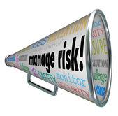 Manage Risk Bullhorn Megaphone Limit Loss Liability Compliance — Stock Photo