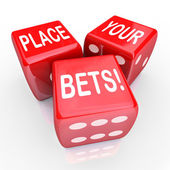 Place Your Bets Dice Gambling Future Opportunity Guess — Foto de Stock