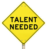 Talent Needed Yellow Road Sign Finding Skilled People Workers — Stok fotoğraf