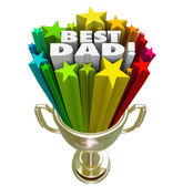 Best Dad Prize Award Trophy Top Father Parenting Skills — Stock Photo