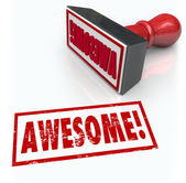 Awesome Word Rubber Stamp 3D Rating Review Feedback — Stock Photo