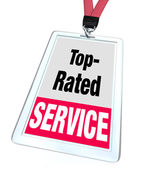 Top Rated Service Employee Badge Name Tag Customer Support — Stock Photo